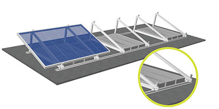 Raised flat-roof frames with the S:FLEX Delta triangle and ballast stones